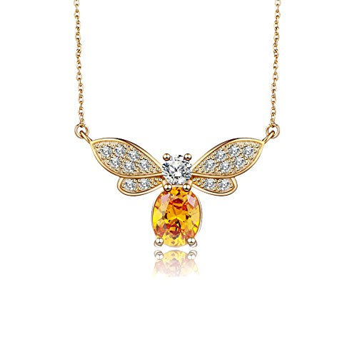 Wonderland Honey Bee Butterfly s925 Sterling Silver AAA Orange White CZ Animal Necklace Jewelry for Women Girls Birthday for Woman Wife Her Mom Teen Girls Daughter Sisters Grandma Au