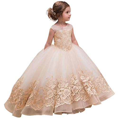 AbaoSisters Elegant Flower Girl Dress for Wedding Kids Sleevelesss Lace Pageant Ball Gowns Size 2 Rose Gold