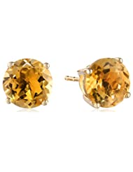 14k Gold 8mm Round Birthstone 4-Prong Solitaire Studs