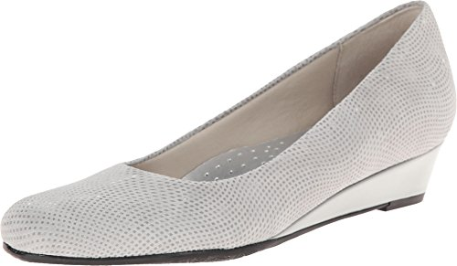 Patent Wedges Suede And - Trotters Women's Lauren Light Grey 3D Patent Suede Leather Wedge 8 SS (4A)