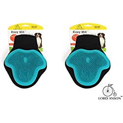 Lord Anson trade; Kosy Mit 2 Pack - One Size Fits All Silicone Grooming Glove for Short and Long Haired Dogs - Dog Grooming Supplies - Deshedding and Bathing Glove