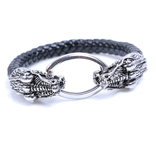 MORE FUN Men Style Braided Genuine Leather Handmade Double Headed Animal Cuff Bangle (Snake)