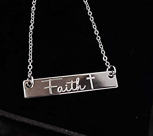 Engraved Faith and Cross Bar Necklace