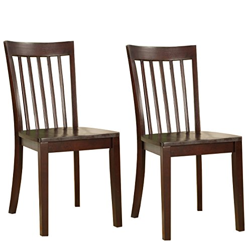 Kings Brand Furniture - Set of 2 Heavy Duty Solid Wood Room - Kitchen Side Chairs (Cherry) - Maple Wood Finish Chair