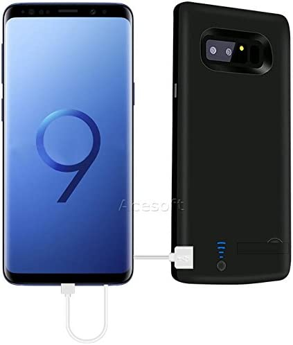 High Capacity 6000mAh Portable External Backup Battery Rechargeable Charging Full Edge Protective Case Cover Fast Charging for Samsung Galaxy S9 Plus SM-G965U Phone Black