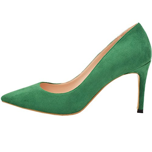 Lovirs Womens Green Office Basic Slip on Pumps Stiletto Mid-Heel Pointy Toe Shoes for Party Dress 8 M US ()