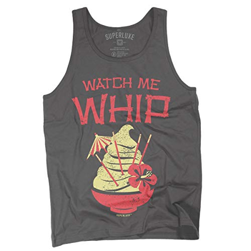 (Superluxe Clothing Mens/Womens/Unisex Watch Me Whip Funny Tiki Tank Top, Large, Asphalt )