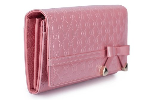 Bow Tie Cute Girls Ladies Long Embossed Patent Leather Wallet Pink