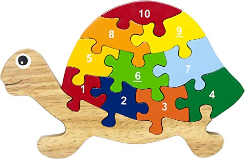 Red Fish Toys Eco-friendly Wooden Numbers Preschool Puzzle - Turtle for Ages 2-4 (Fish Jigsaw Wooden Big)