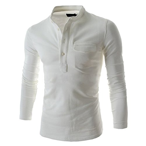 Puedo Mens Henley Shirt, Casual Long Sleeves Shirts Henley Shirt Grandad Neck T-Shirts Tees Button Placket Top (White,2XL=US L)