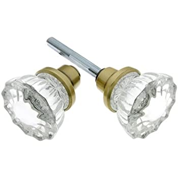 Pair Of Fluted Glass Door Knobs With Plated Zinc Base In Antique ...