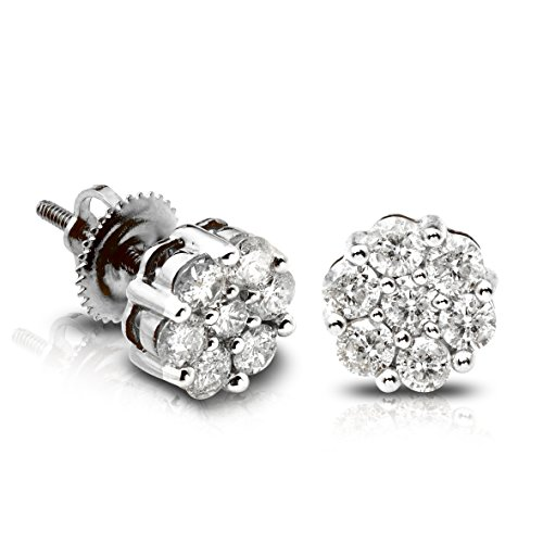 LoveBling 10K White Gold 0.15 (ctw) Diamond Flower Cluster Earrings 0.14