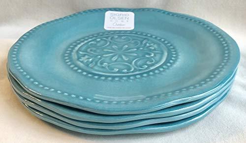 "Sigrid Olsen 100% Melamine 4-Dinner Plates (11"" Diameter) 2-Tone HOBNAIL AQUA BLUE"