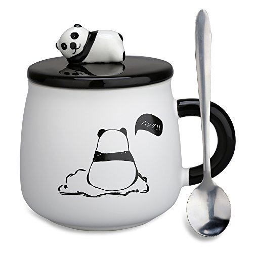 Funny Coffee Mug, Cute Ceramic Panda Mugs, Lovely Animal Tea Cups with 3D Panda Lid and Spoon, Best Gifts for Mom, Kids,Family, Brothers and Friends, 14 Ounces