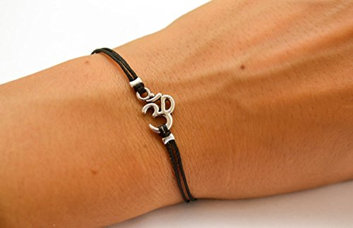 - OM bracelet, women bracelet with Tibetan silver Om charm, Hindu symbol, black cord, gift for her, yoga bracelet, lucky charm, chakra jewelry