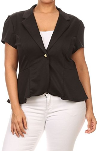 2LUV Plus Women's Plus Size Short Sleeve Blazer with Button Closure Black (Button Closure Blazer)