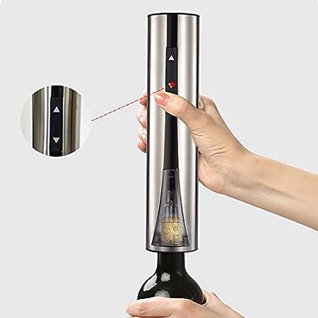 Verdelif Abrebotellas eléctrico, sacacorchos automático recargable para el hogar con tirador de tornillo, elegante apariencia de acero inoxidable, cortador de papel de aluminio, para amantes del vino