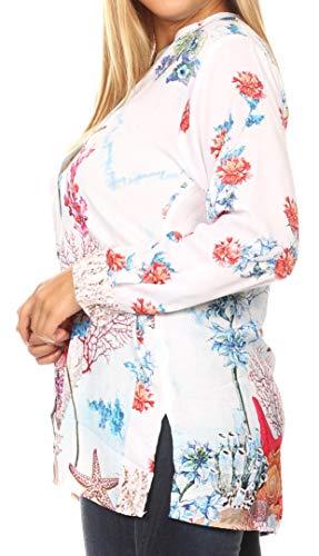 Sakkas 1903 – Ditta kvinnor ledig lös långärmad tryck knapp ner tröja tunik blus – FM214-multi – OSP