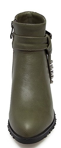 Low Aisun Up Chunky Heels Casual Green Zip Women's Booties SItSrF