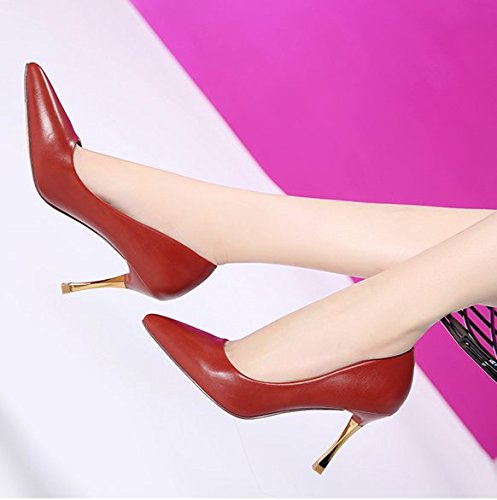 Leisure Brick Women Lady Port Wild High The Simple Single Work Followed Fine Heeled Spring Shoes Elegant Tip 37 Shoes Light Temperament Red MDRW The Shoes 8Cm Shoes SqdCwZxSt