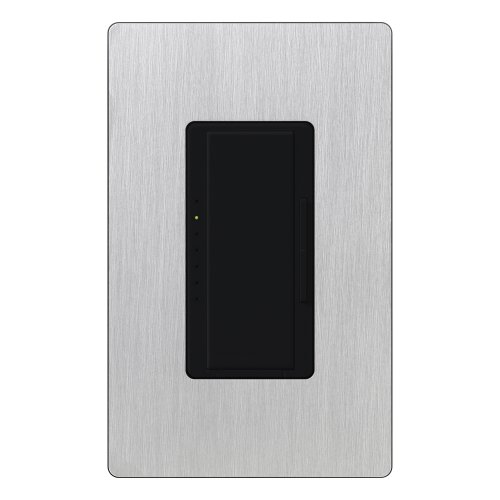 Lutron MA-600HW-MNSS Maestro 600-Watt Single-Pole/Multi-Location Digital Dimmer, Black with Stainless Steel Wall - Stainless Steel Claro