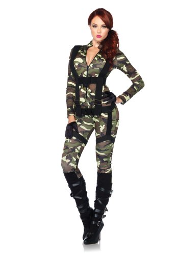 Leg Avenue Women's 2 Piece Pretty Paratrooper Costume, Camo, Medium (Military Halloween Costumes For Womens)