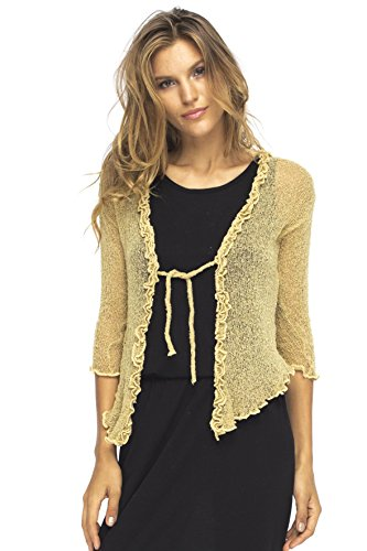 Back From Bali Womens Sheer Shrug Cardigan Sweater Ruffle Lightweight Knit  Natural Gold One - Sheer Boxy