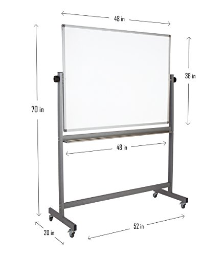 """Magnetic Mobile Whiteboard Large On Stand Double Sided Flip Over Dry Erase Reversible Portable Home Office Classroom Board 36 x 48"""" Inch with 4 Markers 12 Magnets Eraser and Ruler Easel Aluminum Frame by Dapper Display (Image #2)'"""