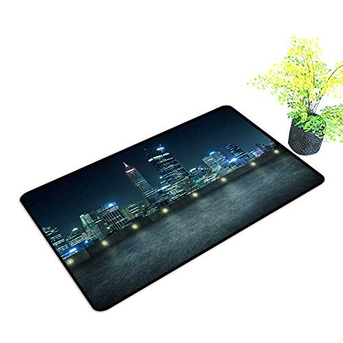 gmnalahome Large Door Mats Shoes Scraper Empty Asphalt roof top City Skyline Night Scene Perth Australia Use for Front Door Entrance W23 x H17 INCH (Patio Perth Furniture)