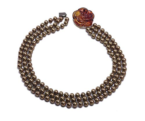 JYX Three-strand shell pearl necklace 8mm chocolate round south seashell pearl necklace with amber flower clasp 19-21