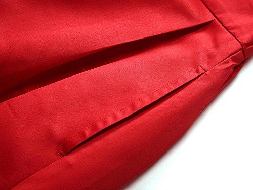 Soire Taille Casual Maxi Rouge Femme Satin CoutureBridal Femme Longue pour Vineux Jupe Haute wznAE0Hq6