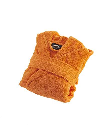 Bagno Milano Kids - Unisex Hooded Bathrobe – 100% Organic Turkish Cotton - Boys - Girls Robe, Made in Turkey (8, Orange) ()