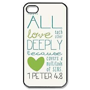 Novel Style Bible Verse Printed Case Cover for iphone 4 4s 4G - Hard Back Designer Case Protector Black 20701