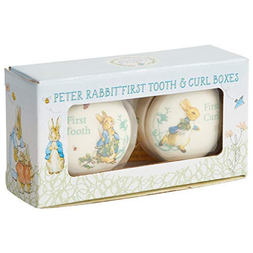 Enesco Beatrix Potter Peter Rabbit Tooth and Curl Boxes Baby Nursery Keepsake Set, 1.26 Inch, White