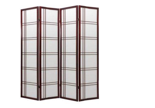Oriental Furniture 6 ft. Tall Double Cross Shoji Screen - Rosewood - 4 Panels