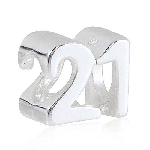 Milestones Number 21 Charm Sterling Silver 21st Birthday Bead for Snake Chain Bracelet