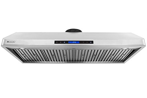 XtremeAir LED Lights, W, 1.0mm Non-Magnetic Stainless Steel, PX10-U48 Under Cabinet Mount Range Hood with 900 CFM Baffle Filter/Grease Drain Tunnel, 48