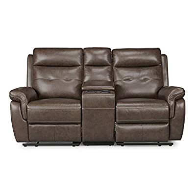 """Home Styles 5325-61 homestyles by Flexsteel Lux Leather Power Motion Reclining Console Love Seat W-71 ¾"""", D-37"""", H-40"""" Brown"""