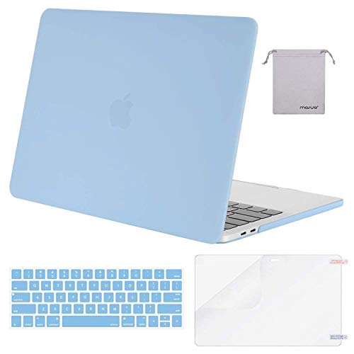 MOSISO MacBook Pro 13 inch Case 2019 2018 2017 2016 Release A2159 A1989 A1706 A1708,Plastic Hard Shell& Keyboard Cover& Screen Protector& Storage Bag Compatible Newly MacBook Pro 13,Airy Blue
