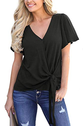 For G and PL Women's Tie Knot Front Plain V Neck Shirt Loose Ruffle Short Sleeve Casual Drape Wrap Tops Black ()
