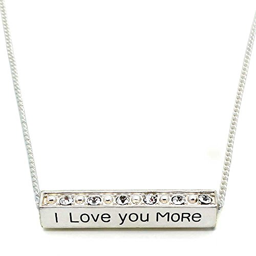 - KIS-Jewelry I Love You More Pendant Necklace - Adjustable Matte Silver Plated Bar Necklace with Sparkling Color Crystals for Someone Special