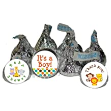 216 Safari Jungle Animals Baby Shower Party Favors Kiss Labels Candy Wrappers Labels
