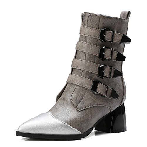 NVXIE Women's Ankle Short Leather Boots Locomotive Winter Pointed Toe Black Chunky High Heel Belt Buckle Gray Large Size 42 GRAY-EUR41UK758
