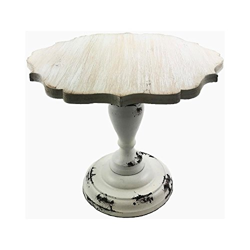 Medium Art Pedestal (Hampton Art Cake Pedestal Stand Wood Vintage Wedding Cake Stand Cupcakes Cakes Assorted Size Large Small Medium (Large Scallop 11.8X11.8X9.4H, White wood) ÿ)