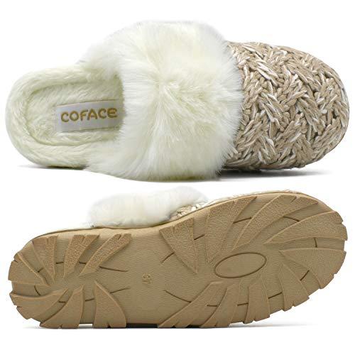 COFACE Womens Comfy Fluffy Memory Foam Slippers Warm Wool Plush House Scuff Outdoor Anti-Skid Rubber Sole