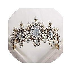 Elegant Retro Bridal Tiara With Nature Pearls