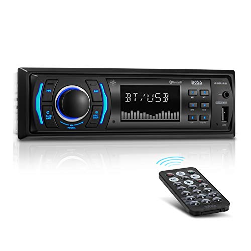 [Upgraded] BOSS Audio 616UAB Multimedia Car Stereo – Single Din LCD, Bluetooth Audio/Calling, Built-in Microphone, MP3/USB, Aux-in, AM/FM Radio Receiver ()