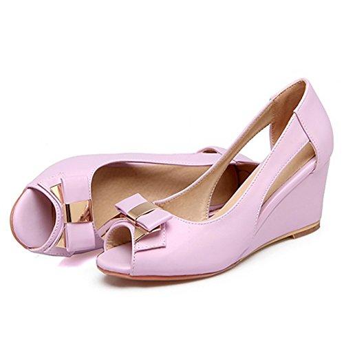 COOLCEPT Women Sweet Wedge Heel Sandals Peep Toe Shoes With Bow Slip On Purple 3Savbf