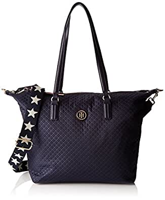 Tommy Hilfiger Poppy Tote Quilted Argyle, Bolso Totes para Mujer, Azul (Quilted Tommy Navy), 14x32x47 cm (W x H x L)