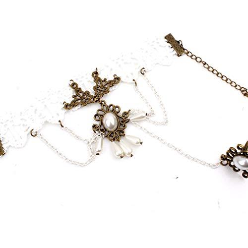 TraveT Vintage Lace Gothic Style Tassel Pendant Choker Victorian Palace Princess Lolita Bracelet with Finger -